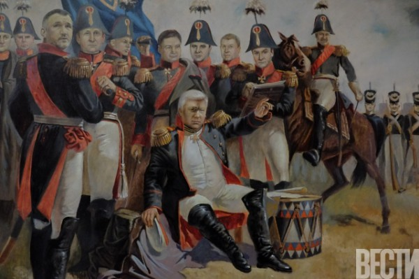 A Napoleonic style painting showing the faces of former allies of Yanukovych