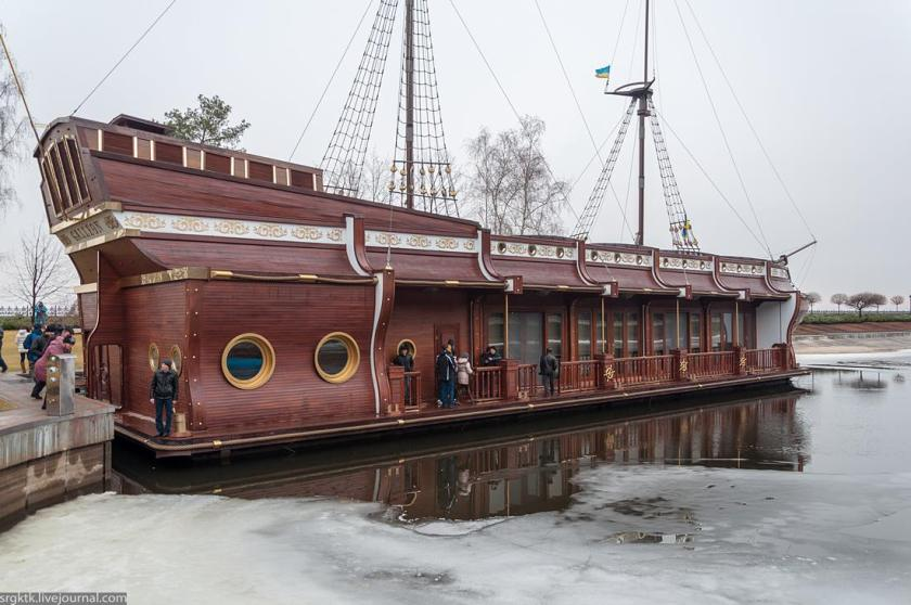 When Yanukovych's residence was stormed in February, many excessive objects were found - including this galleon ship.