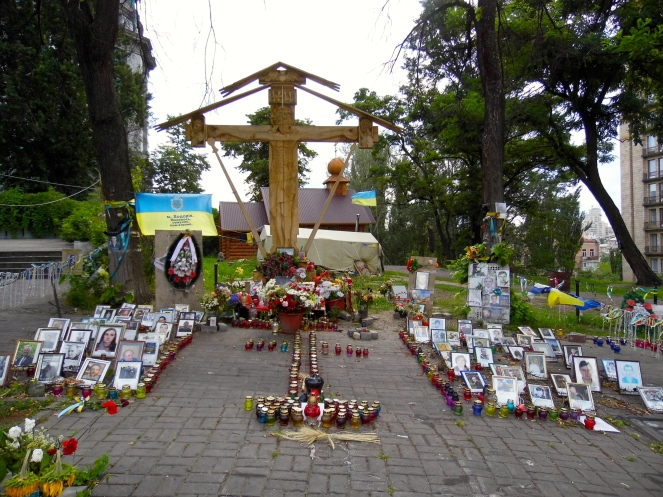 The spot commemorating the first deaths at Maidan (see video)
