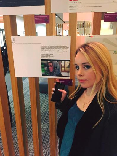 The Nose founder Francesca Ebel with an exhibit of our short documentary 'Forgotten People', showcased at The Guardian Student Media Awards.